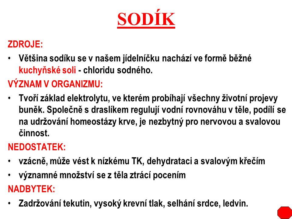 SODÍK ZDROJE: Většina sodíku se v našem jídelníčku nachází ve formě běžné kuchyňské soli - chloridu sodného.