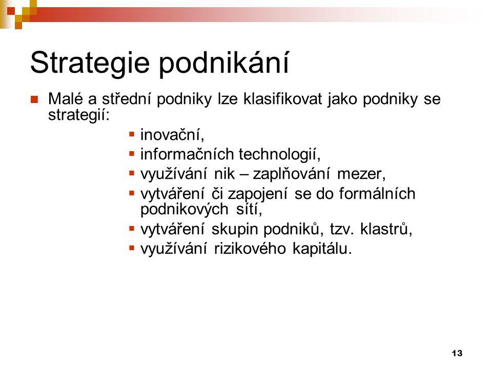 Strategie podnikání Malé a střední podniky lze klasifikovat jako podniky se strategií: inovační, informačních technologií,