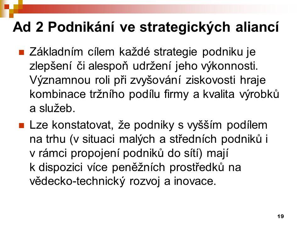 Ad 2 Podnikání ve strategických aliancí