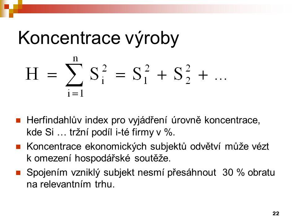 Koncentrace výroby Herfindahlův index pro vyjádření úrovně koncentrace, kde Si … tržní podíl i-té firmy v %.