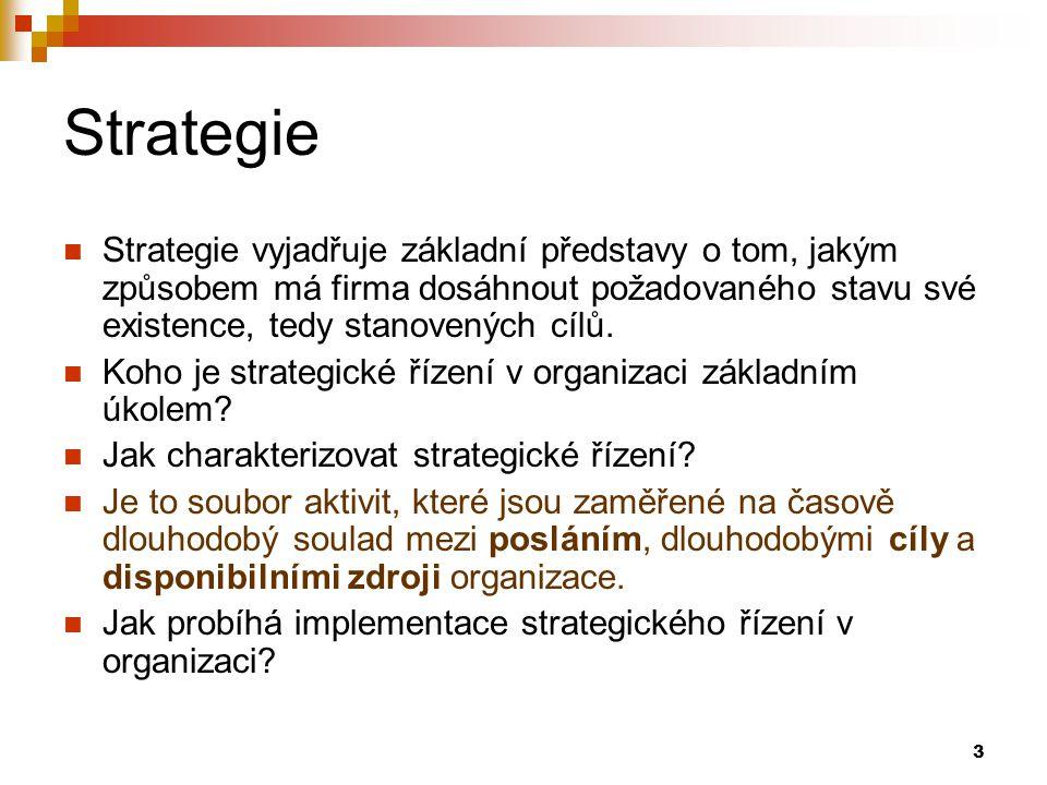 Strategie Strategie vyjadřuje základní představy o tom, jakým způsobem má firma dosáhnout požadovaného stavu své existence, tedy stanovených cílů.