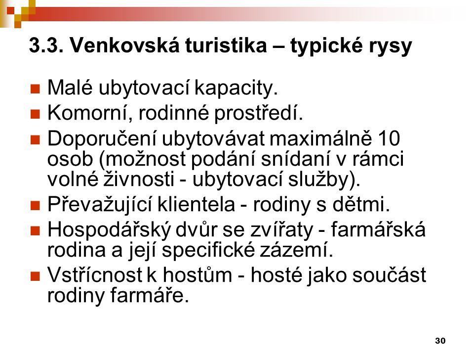 3.3. Venkovská turistika – typické rysy