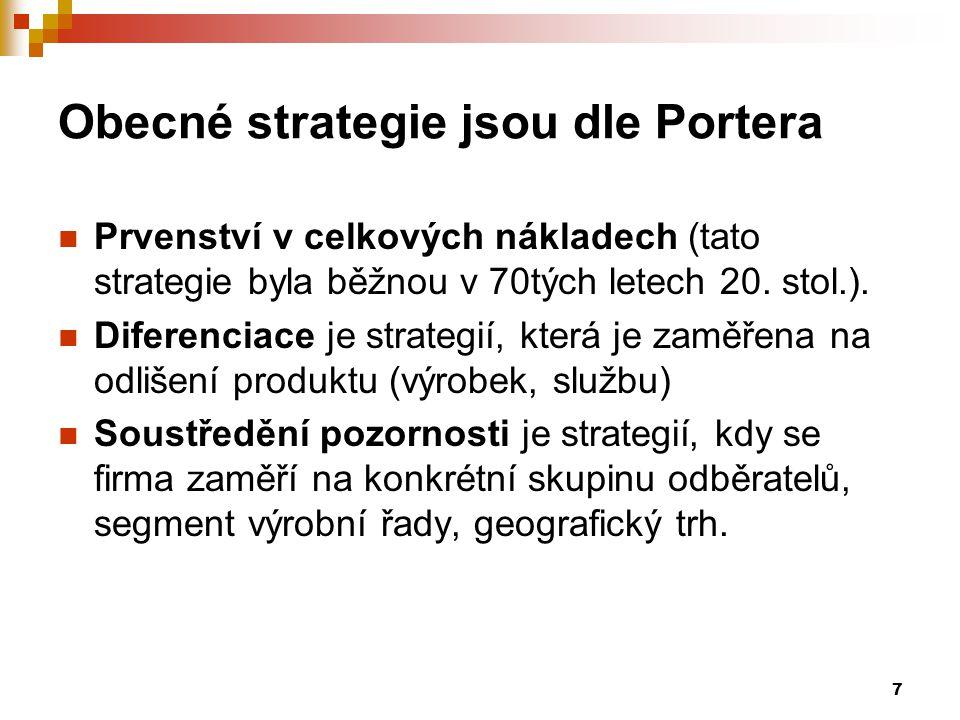 Obecné strategie jsou dle Portera
