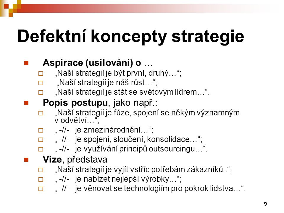 Defektní koncepty strategie