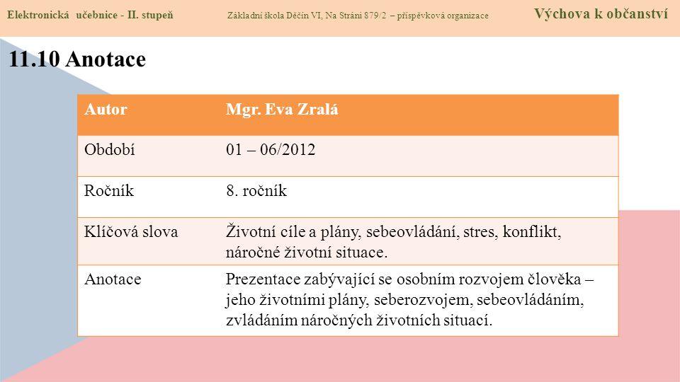 11.10 Anotace Autor Mgr. Eva Zralá Období 01 – 06/2012 Ročník