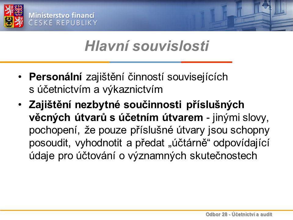 Hlavní souvislosti Personální zajištění činností souvisejících s účetnictvím a výkaznictvím.