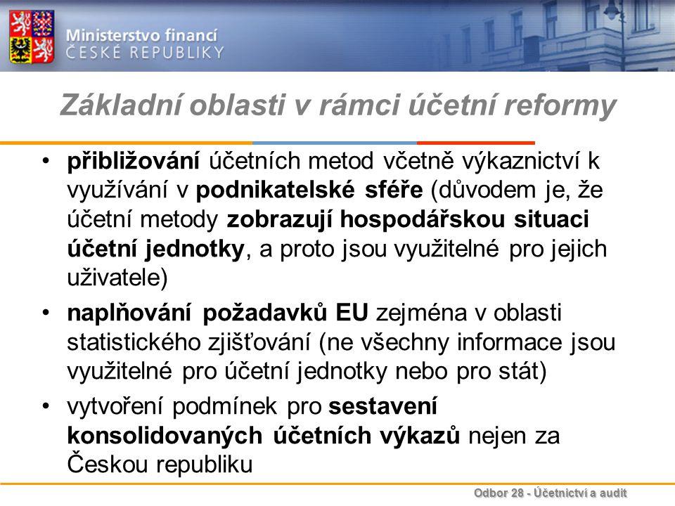 Základní oblasti v rámci účetní reformy