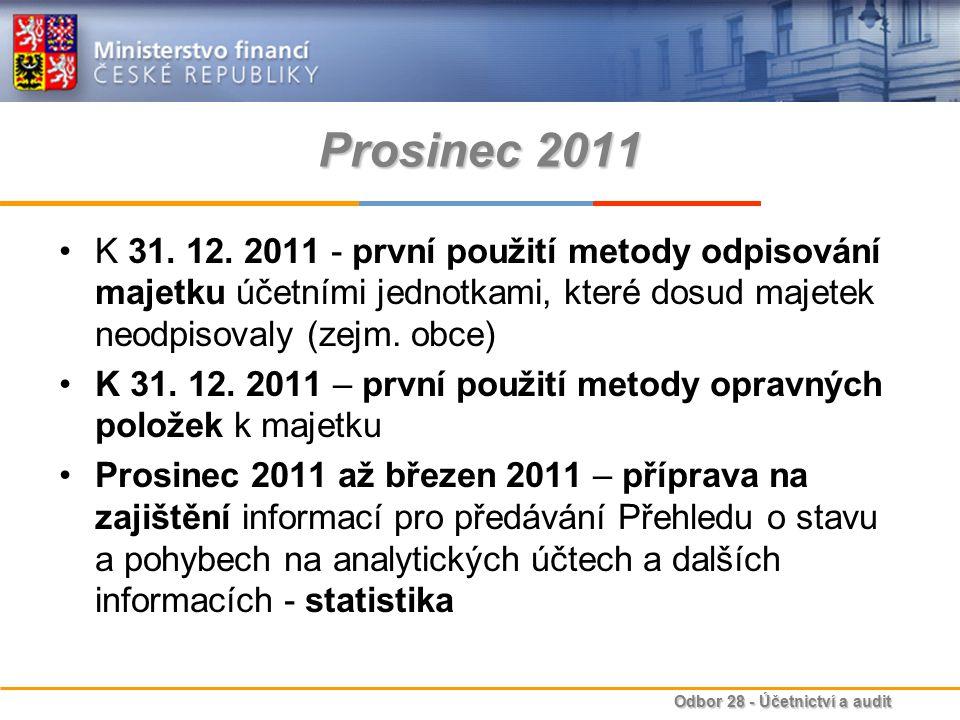 Prosinec 2011 K 31. 12. 2011 - první použití metody odpisování majetku účetními jednotkami, které dosud majetek neodpisovaly (zejm. obce)