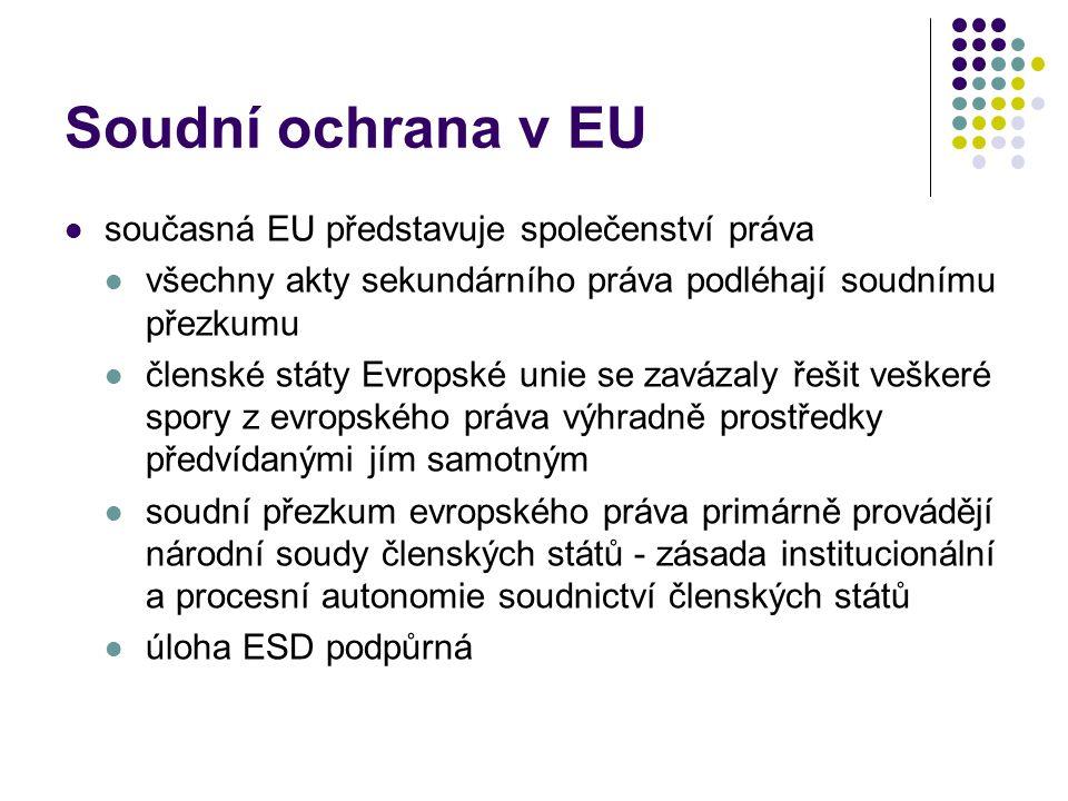 Soudní ochrana v EU současná EU představuje společenství práva