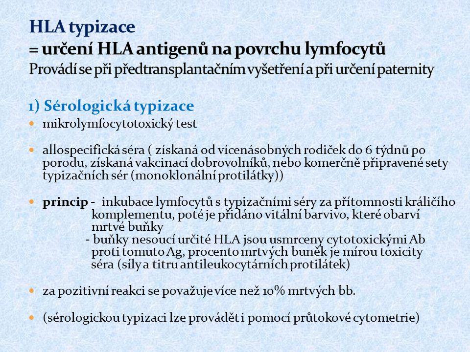 HLA typizace = určení HLA antigenů na povrchu lymfocytů Provádí se při předtransplantačním vyšetření a při určení paternity
