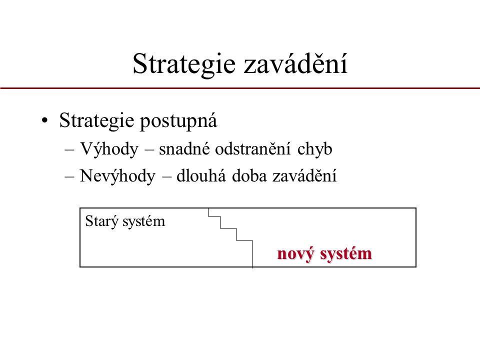 Strategie zavádění Strategie postupná Výhody – snadné odstranění chyb