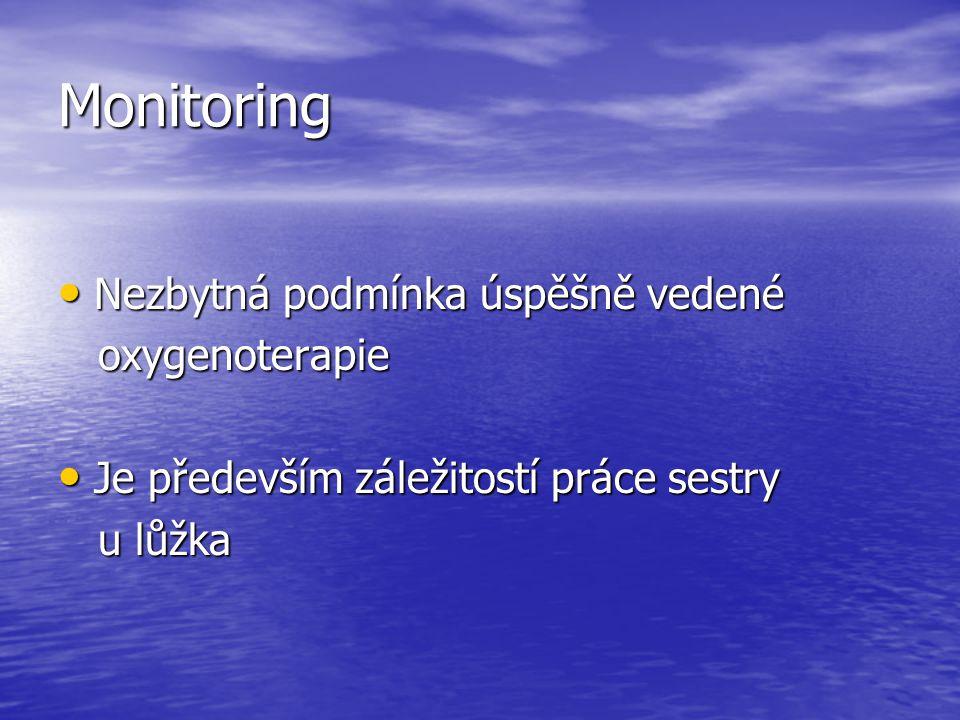 Monitoring Nezbytná podmínka úspěšně vedené oxygenoterapie