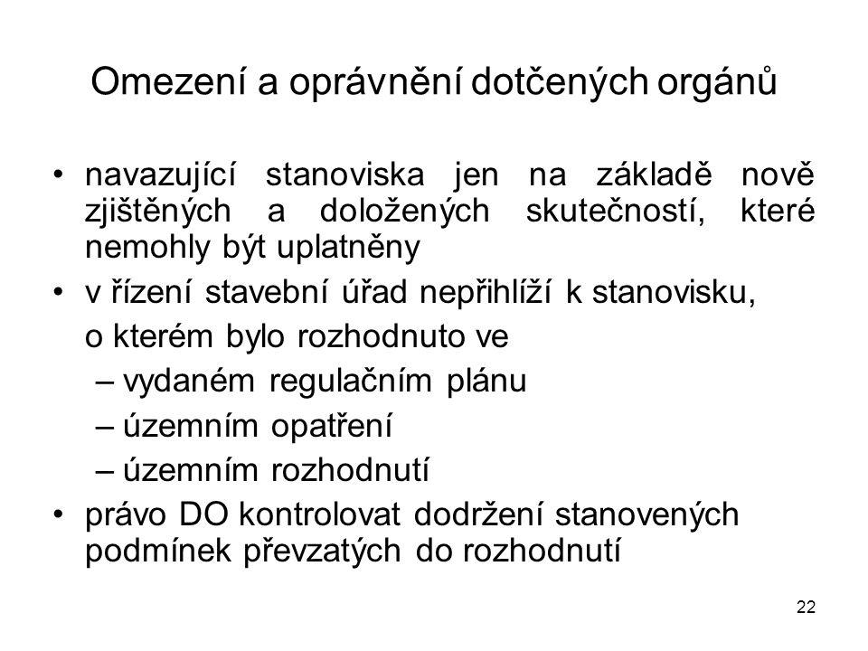 Omezení a oprávnění dotčených orgánů