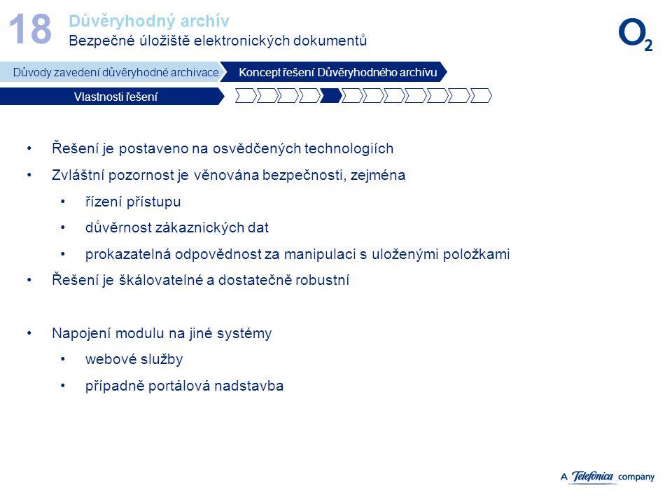 18 Důvěryhodný archív Bezpečné úložiště elektronických dokumentů