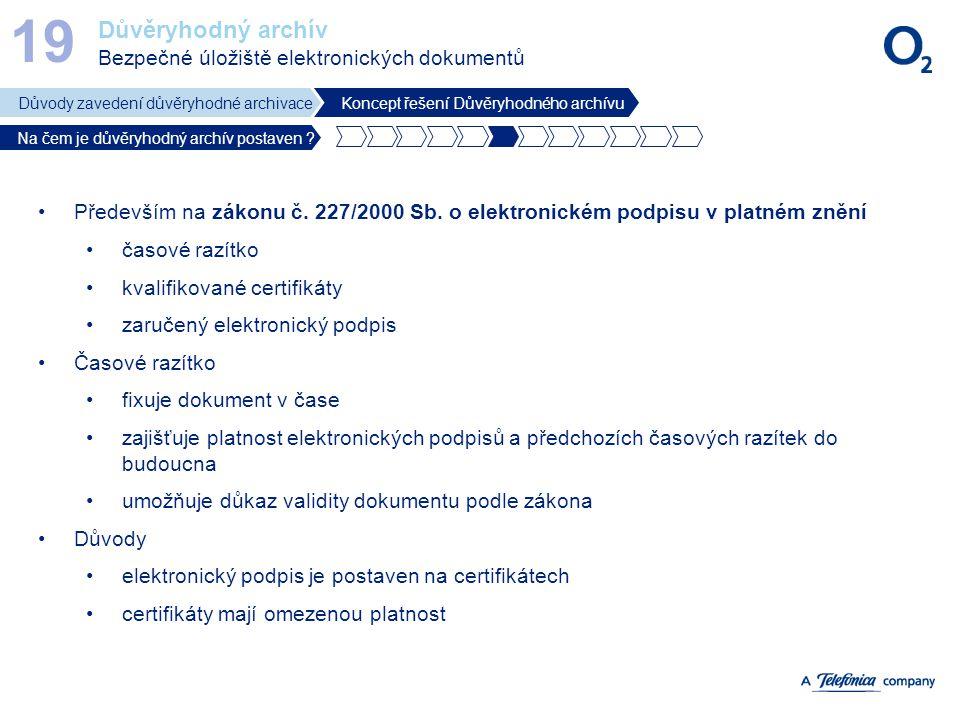 19 Důvěryhodný archív Bezpečné úložiště elektronických dokumentů