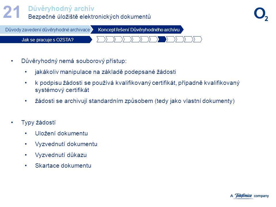 21 Důvěryhodný archív Bezpečné úložiště elektronických dokumentů