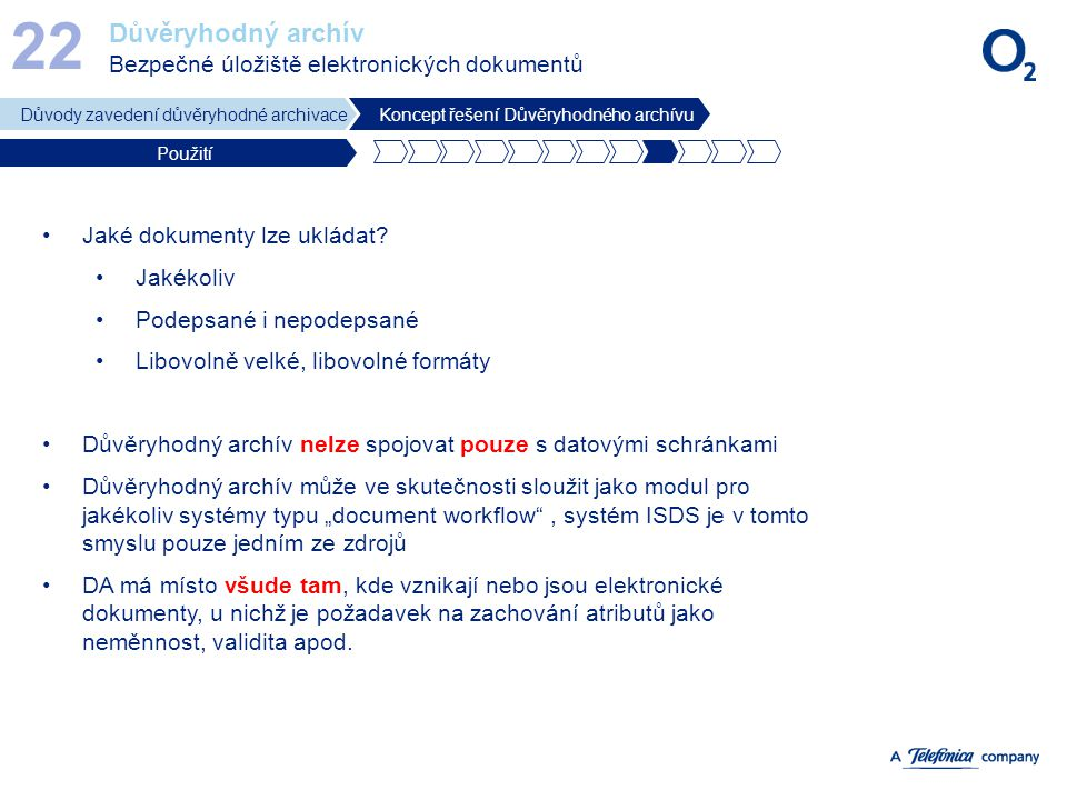 22 Důvěryhodný archív Bezpečné úložiště elektronických dokumentů