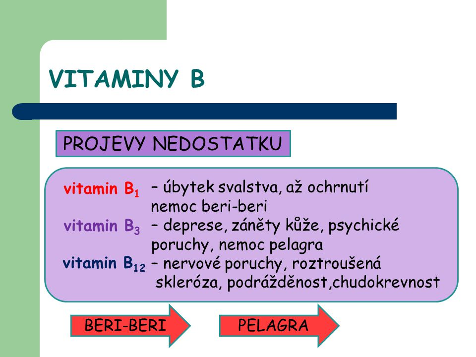 VITAMINY B PROJEVY NEDOSTATKU – úbytek svalstva, až ochrnutí