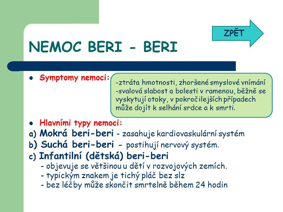 NEMOC BERI - BERI ZPĚT Symptomy nemoci: Hlavními typy nemoci: