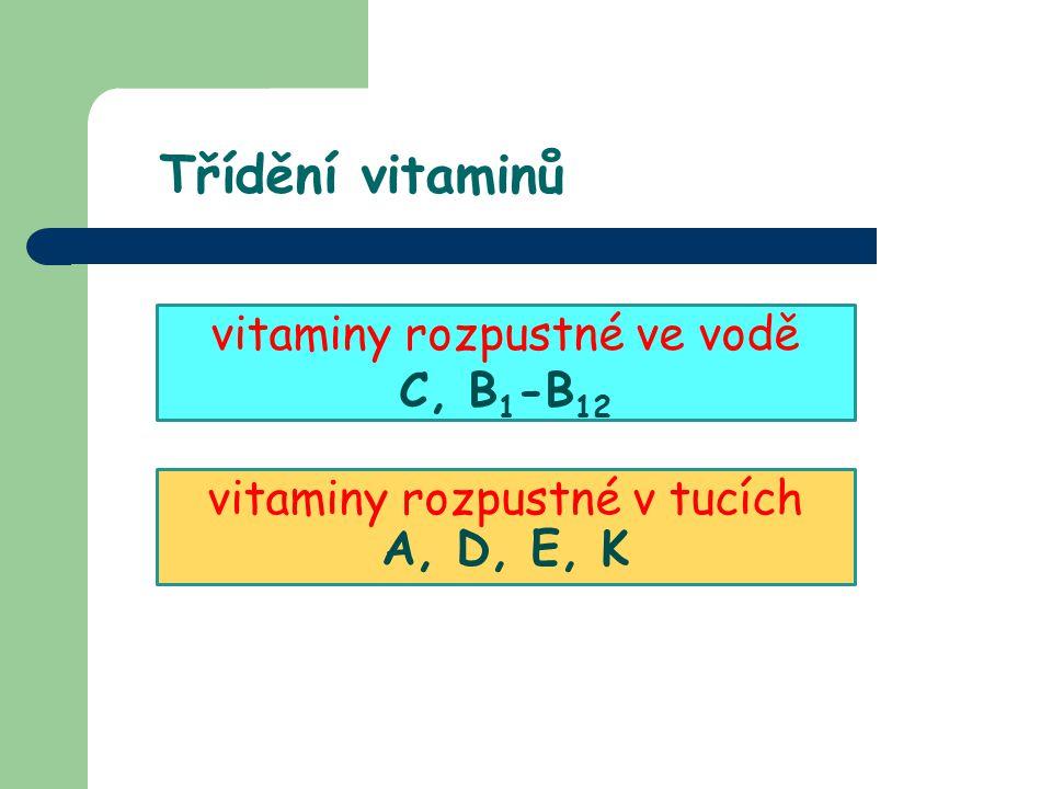Třídění vitaminů vitaminy rozpustné ve vodě C, B1-B12