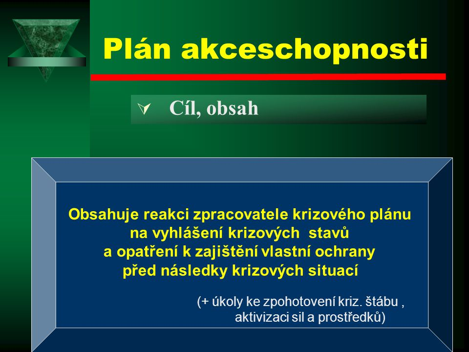 Plán akceschopnosti Cíl, obsah
