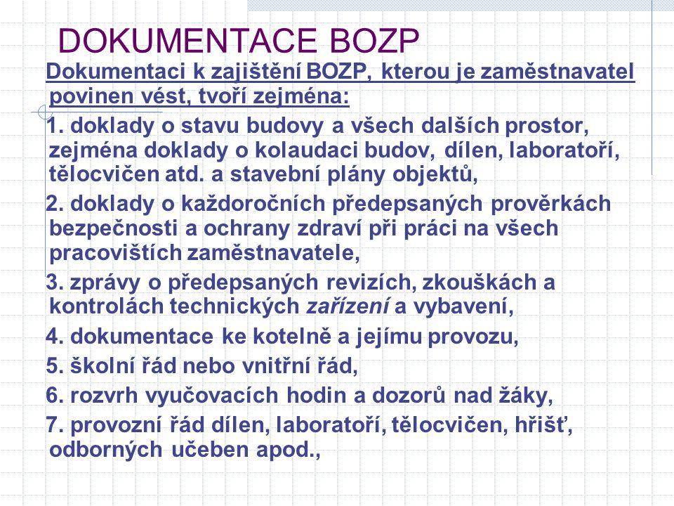 DOKUMENTACE BOZP Dokumentaci k zajištění BOZP, kterou je zaměstnavatel povinen vést, tvoří zejména: