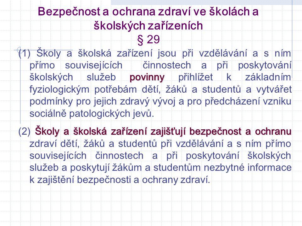 Bezpečnost a ochrana zdraví ve školách a školských zařízeních § 29