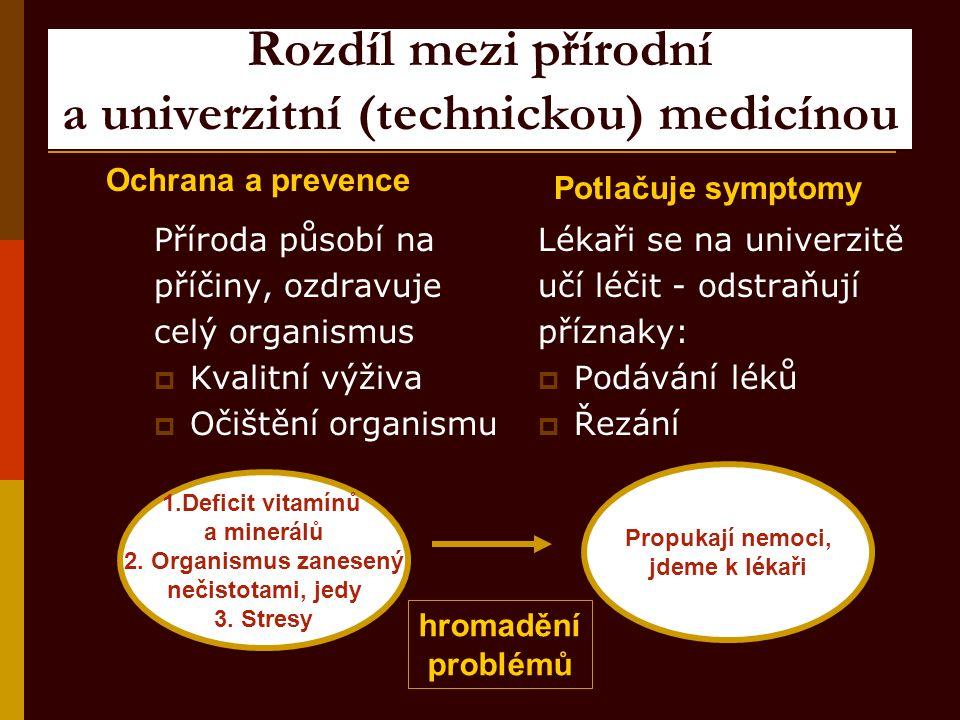 Rozdíl mezi přírodní a univerzitní (technickou) medicínou