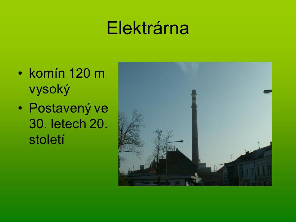 Elektrárna komín 120 m vysoký Postavený ve 30. letech 20. století