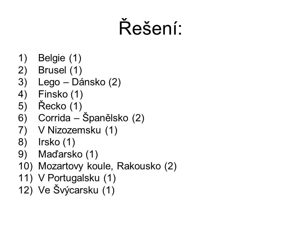 Řešení: Belgie (1) Brusel (1) Lego – Dánsko (2) Finsko (1) Řecko (1)