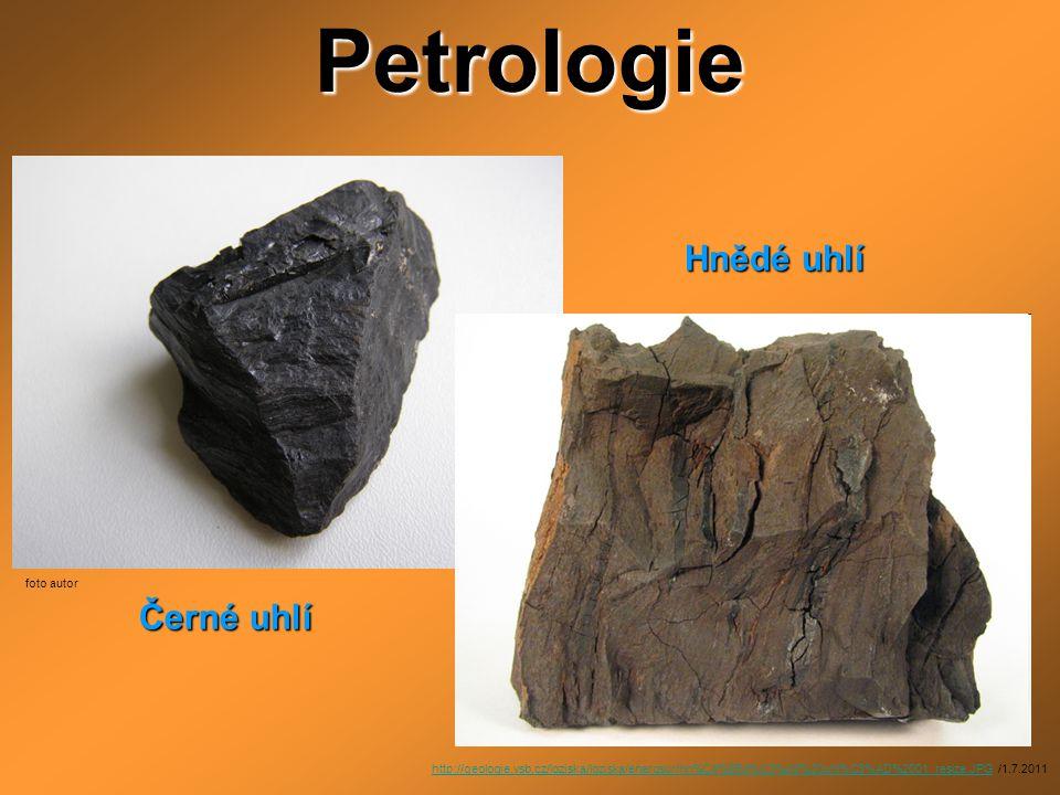 Petrologie Hnědé uhlí Černé uhlí foto autor