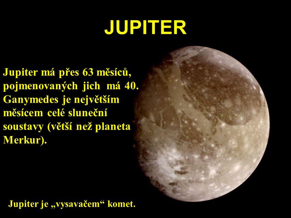 JUPITER Jupiter má přes 63 měsíců, pojmenovaných jich má 40.