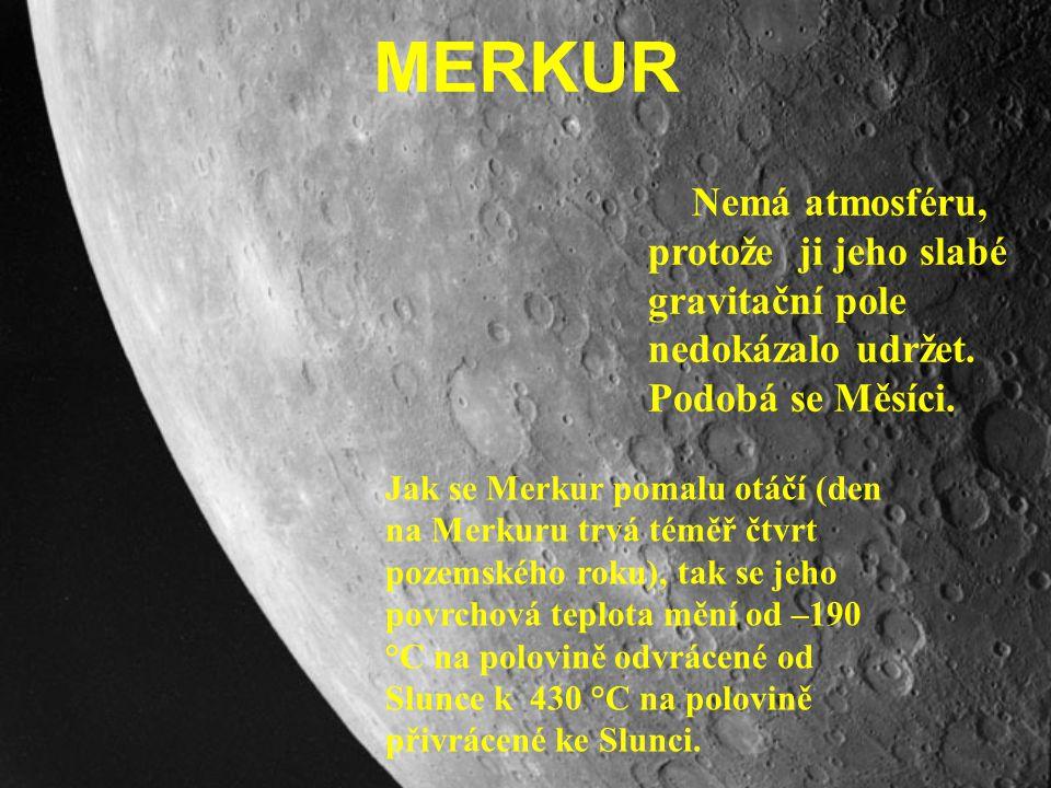 MERKUR Nemá atmosféru, protože ji jeho slabé gravitační pole nedokázalo udržet. Podobá se Měsíci.