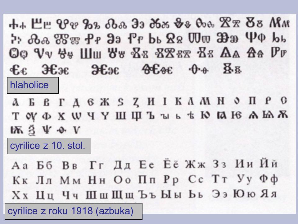 hlaholice cyrilice z 10. stol. cyrilice z roku 1918 (azbuka)