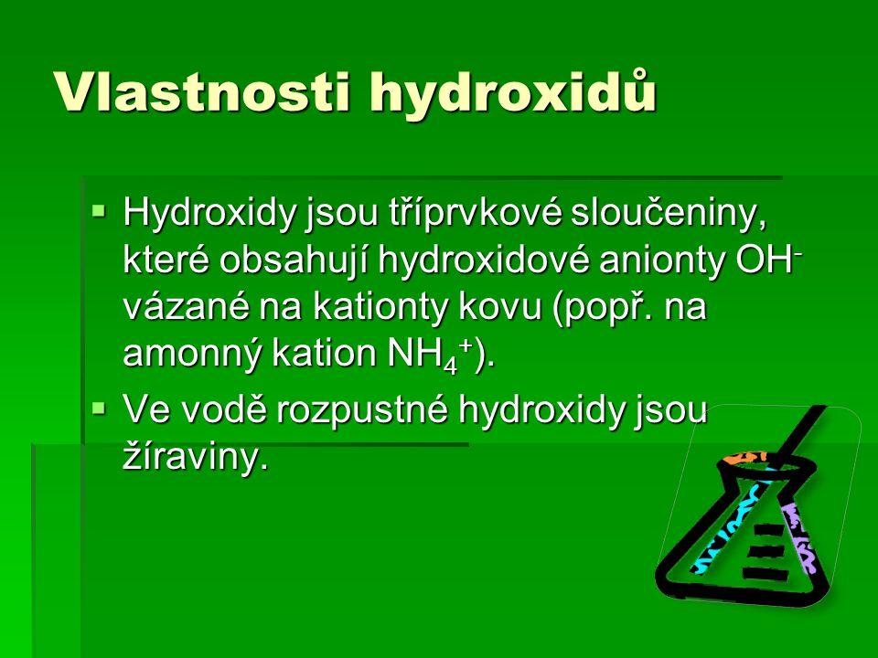 Vlastnosti hydroxidů