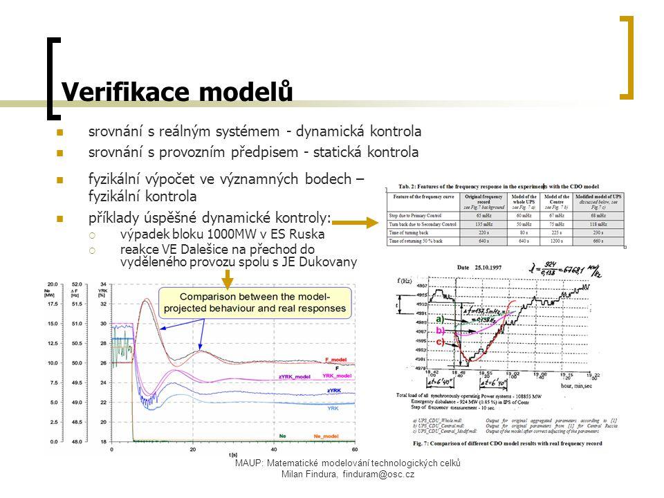 Verifikace modelů srovnání s reálným systémem - dynamická kontrola