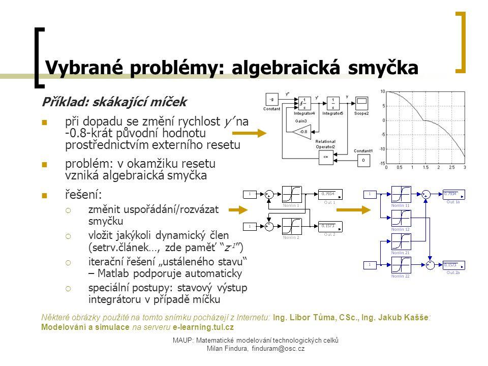 Vybrané problémy: algebraická smyčka