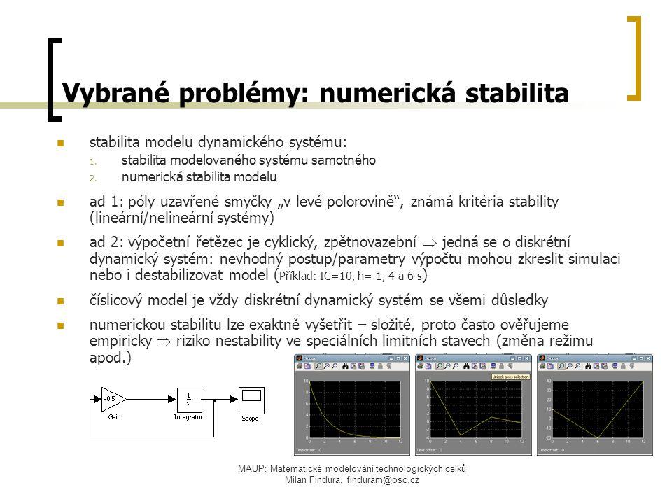 Vybrané problémy: numerická stabilita