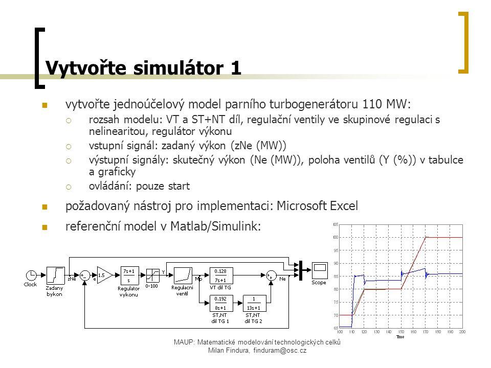 Vytvořte simulátor 1 vytvořte jednoúčelový model parního turbogenerátoru 110 MW: