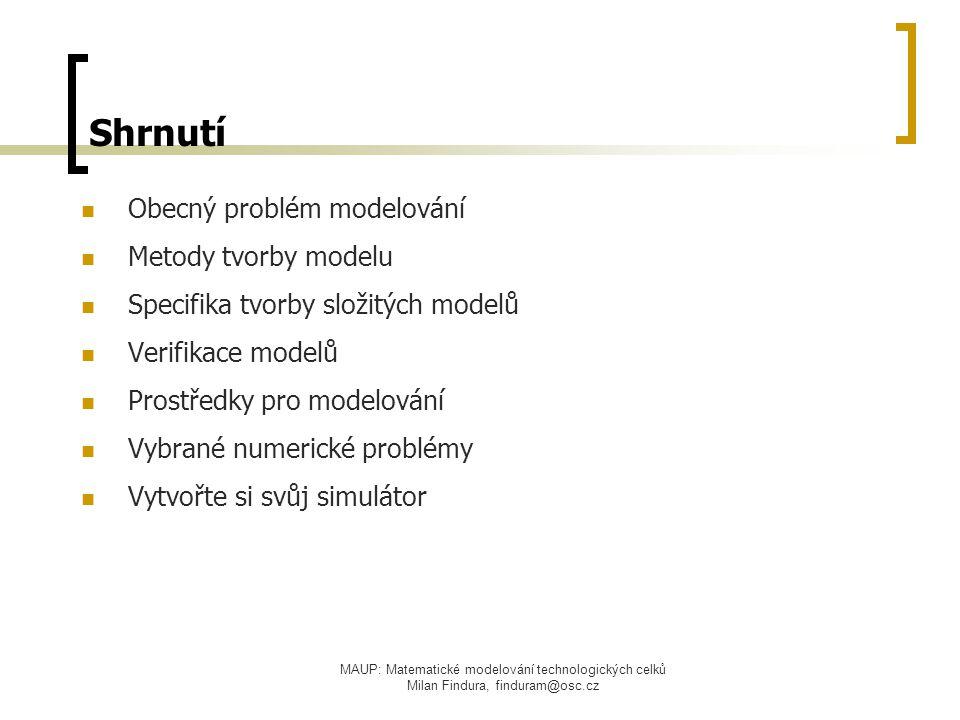 Shrnutí Obecný problém modelování Metody tvorby modelu
