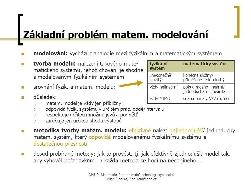 Základní problém matem. modelování