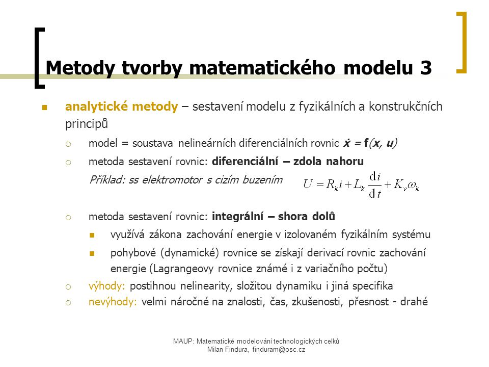 Metody tvorby matematického modelu 3