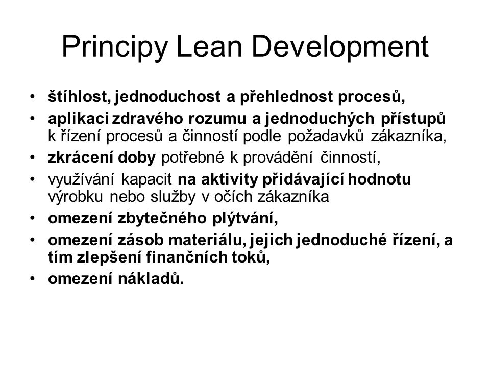 Principy Lean Development