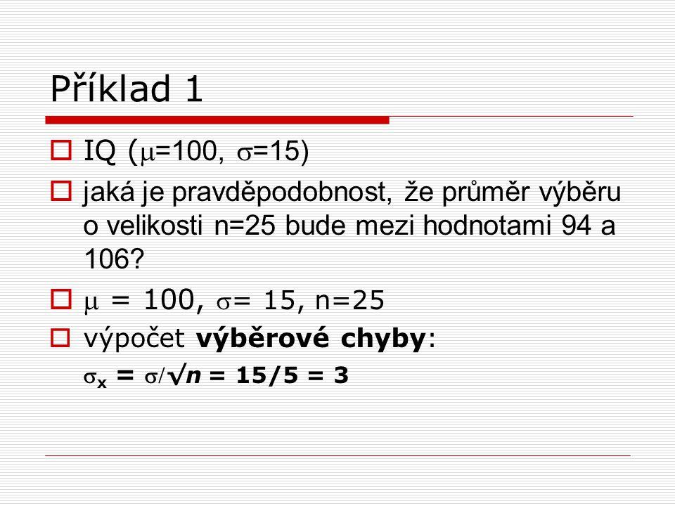 Příklad 1 IQ (m=100, s=15) jaká je pravděpodobnost, že průměr výběru o velikosti n=25 bude mezi hodnotami 94 a 106