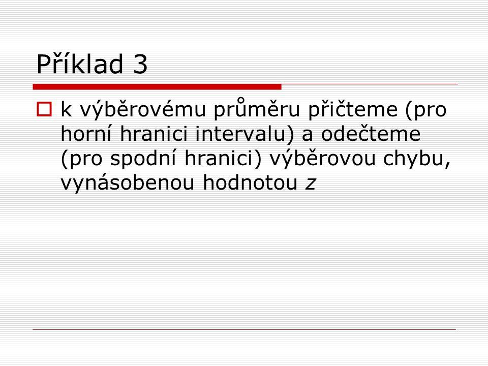 Příklad 3 k výběrovému průměru přičteme (pro horní hranici intervalu) a odečteme (pro spodní hranici) výběrovou chybu, vynásobenou hodnotou z.