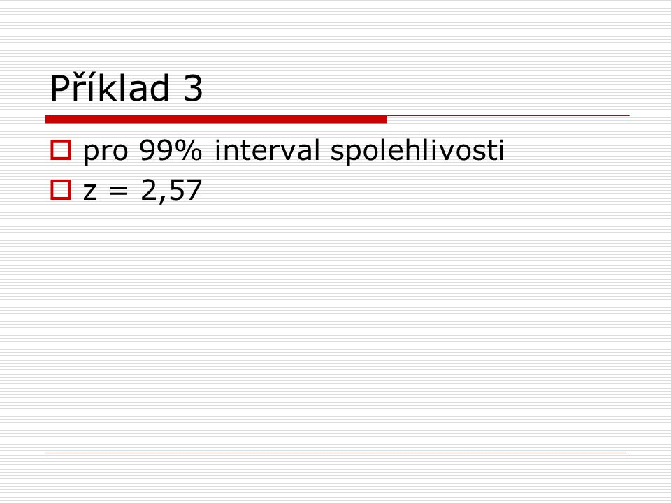 Příklad 3 pro 99% interval spolehlivosti z = 2,57