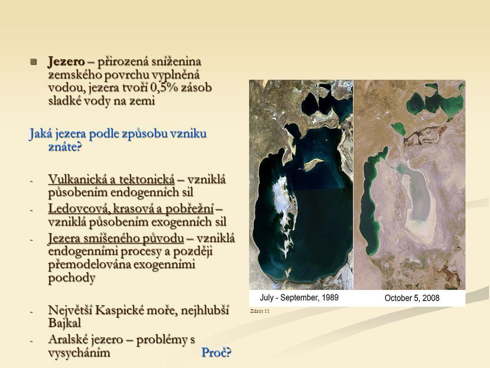Jaká jezera podle způsobu vzniku znáte