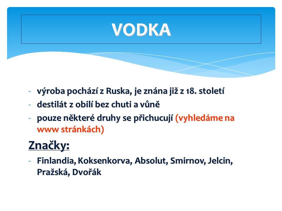 VODKA Značky: výroba pochází z Ruska, je znána již z 18. století