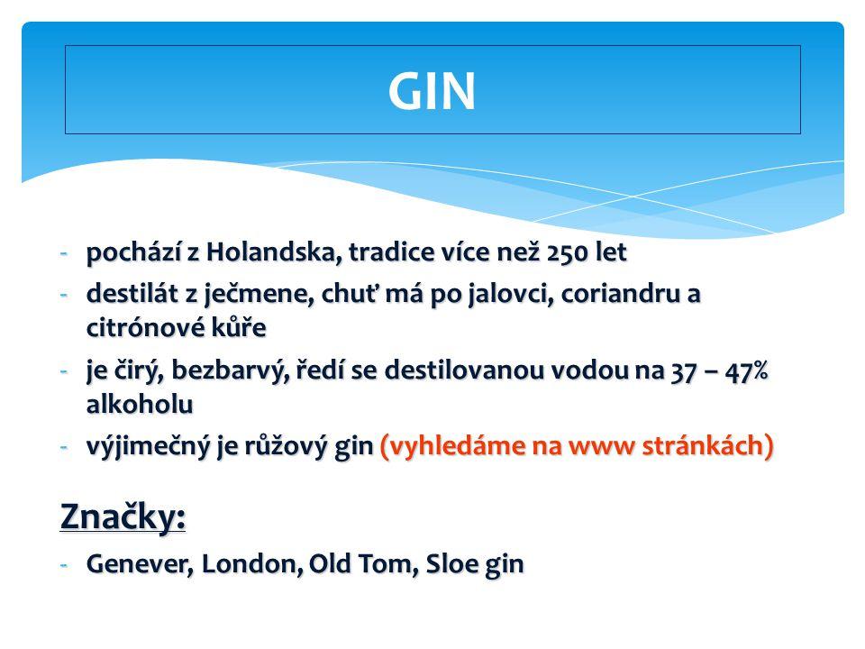 GIN Značky: pochází z Holandska, tradice více než 250 let