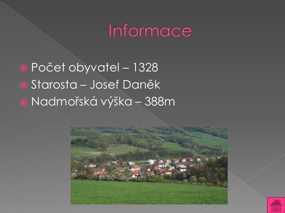 Informace Počet obyvatel – 1328 Starosta – Josef Daněk